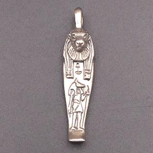 Mummiform Lioness Pendant in Sterling Silver