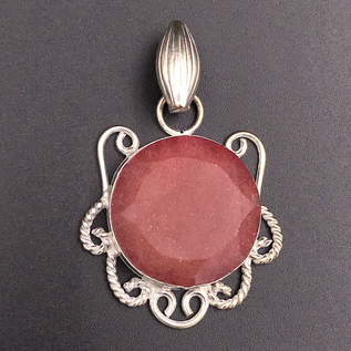 OMEN Raw Ruby Pendant with Silver Filigree
