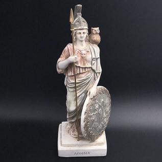 OMEN Athena with Owl Goddess of Wisdom Ancient Greek sculpture statue Minerva