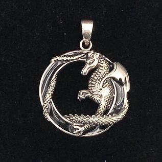 OMEN Highly Detailed Dragon in Black Enamel Circle