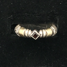 SS and 14kt Thin Garnet Ring
