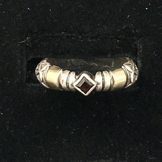 OMEN SS and 14kt Thin Garnet Ring