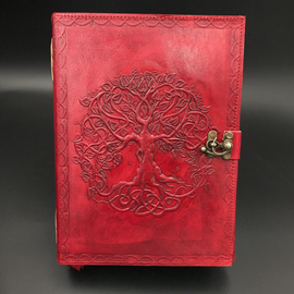 Small Detailed Celtic Knot Tree Journal in Red