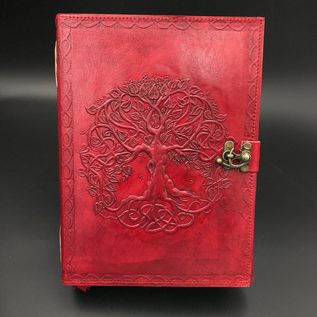 Shahid Kahn Leather Books Small Detailed Celtic Knot Tree Journal in Red