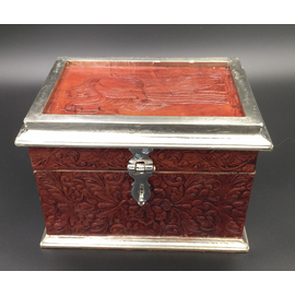 Brown Leather Tarot Box with The Hermit