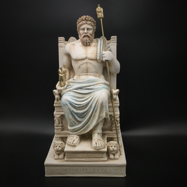 Zeus on Throne Statue - 10.2 Inches Tall - Made in Greece
