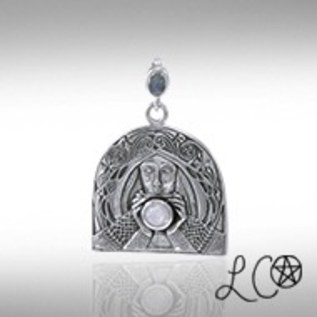 Laurie Cabot's Grail Knight with Rainbow Moonstone Pendant