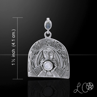 OMEN Laurie Cabot's Grail Knight with Rainbow Moonstone Pendant