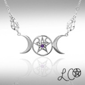 Laurie Cabot's Triple Moon Goddess Necklace with Amethyst