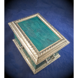 Blue Leather Tarot Box with The Hermit