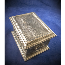 Silver Leather Tarot Box with The Hermit