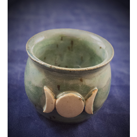 Little Cauldron Pot in Green with Triple Moon
