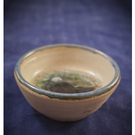 Ceramic Incense Holder with Green/Blue Glass