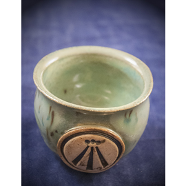 Little Cauldron Pot in Green with Awen Symbol