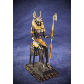 Small Sitting Anubis Statue, Black and Gold Finish