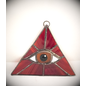 Red Triangle with Amber Eye Suncatcher
