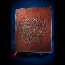 Small Herbal Pentagram Journal in Brown
