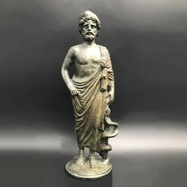 Asclepius Statue - 8 inches Tall in Bronze - Made in Greece