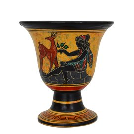 Artemis Ritual Goblet - 4.5 Inches Tall in Handpainted Ceramic from Greece