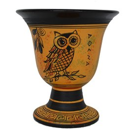 Owl of Athena Ritual Goblet - 4.5 Inches Tall in Handpainted Ceramic from Greece