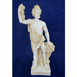 Statue of Dionysus, God of Wine - 9.6 Inches Tall in Aged Alabaster - Made in Greece