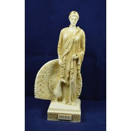 Statue of Hera, Queen of the Gods - 9.6 Inches Tall in Aged Alabaster - Made in Greece