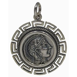 Double-Sided Athena Pendant - One Inch Wide in 925 Sterling Silver - Made in Greece