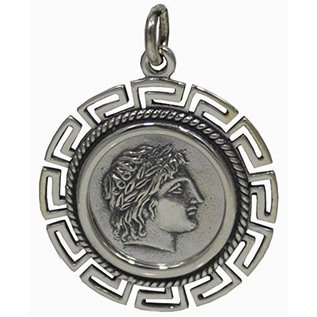 Double-Sided Apollo Pendant - One Inch Wide in 925 Sterling Silver - Made in Greece