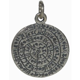 Phaistos Disk Pendant - .9 Inches Wide in 925 Sterling Silver - Made in Greece