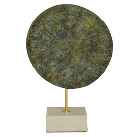 Disc of Phaistos - 8.6 Inches Tall in Bronze with Green Patina on Marble Stand in - Made in Greece
