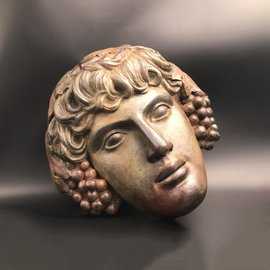 Dionysus Mask - 11.4 Inches in Ceramic - Made in Greece