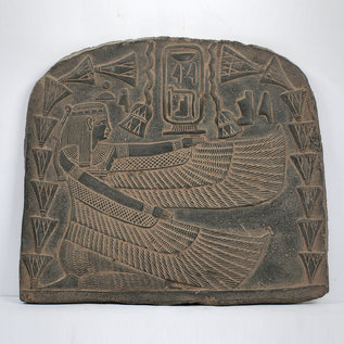 Winged Isis Wall Relief - 13 Inches Wide in Basalt - Made in Egypt