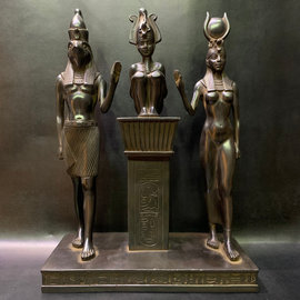 Trinity of Isis, Osiris, and Horus statue - 13.5 Inches Tall in Basalt - Made in Egypt