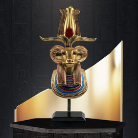 Bust of Khnum Statue - 12 Inches Tall in Hand-Painted Stone - Made in Egypt