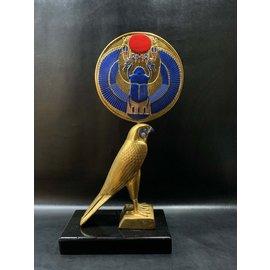 Horus Statue - 20.5 Inches Tall in Stone Hand-Painted with Gold Leaf - Made in Egypt