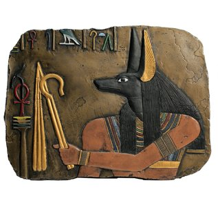 Anubis Wall Relief - 16 Inches Wide in Hand-painted Basalt - Made in Egypt