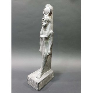 Goddess Hathor Statue - 12 Inches Tall in Basalt - Made in Egypt