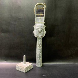 Goddess Hathor Ritual Sistrum - 14 Inches Long in Green Alabaster with stand - Made in Egypt
