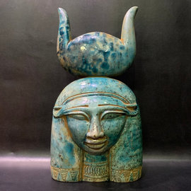 Head of Goddess Hathor Statue - 12 Inches Tall in Natural Stone - Made in Egypt