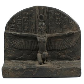 Winged Isis Statue - 12 Inches Wide in Black Stone - Made in Egypt