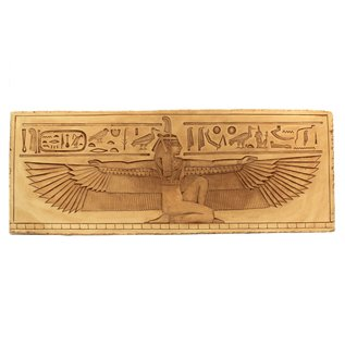 Winged Maat Wall Relief - 24 Inches Wide in Limestone - Made in Egypt