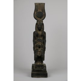 Goddess Isis with Seated Thoth Statue - 12 Inches Tall in Basalt - Made in Egypt