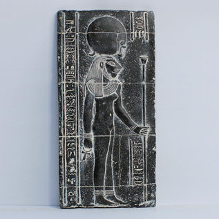 Egyptian Lioness Goddess Sekhmet Wall Relief - 10 Inches Tall in Gray Basalt - Made in Egypt