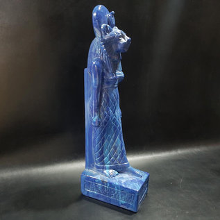 Egyptian Lioness Goddess Sekhmet Statue - 12 Inches Tall in Blue Stone - Made in Egypt