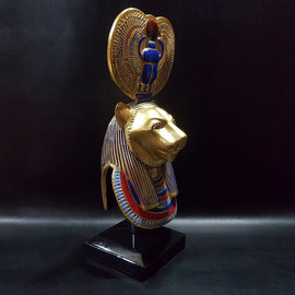Egyptian Lioness Goddess Sekhmet Bust - 14 Inches Tall in Painted Stone - Made in Egypt