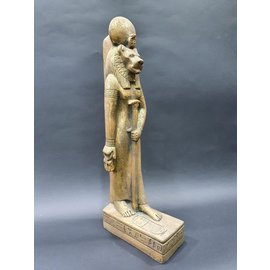Egyptian Lioness Goddess Sekhmet Statue - 17 Inches Tall in Golden Limestone - Made in Egypt