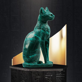 Egyptian Cat Goddess Bastet Statue - 17 Inches Tall in Stone - Made in Egypt