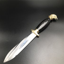 Cretan Eagle Head Athame -  11 Inches Long with Black Ram Horn Handle, Steel Blade, and Bronze Pommel - Made in Crete