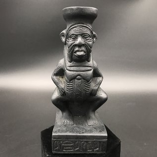Egyptian God Bes Statue  - 4 Inches Tall in Black Polystone - Made in Egypt