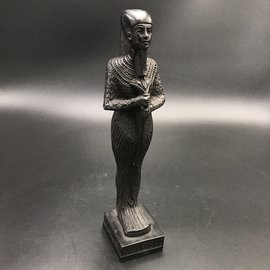 Egyptian Ptah god standing & holding the stick  - 10.5 Inches Tall in Black Polystone - Made in Egypt